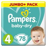 Pampers Couches  - Baby Dry T4 : 8/16kg - x78 changes