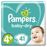 Pampers Couches  - Baby Dry T4+ : 10-15 kg - x41 changes