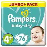 Pampers Couches  - Baby Dry T4+ :10/15kg - x76 changes