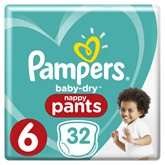Pampers Culottes Baby-Dry Pampers T6 - Nappy Pants - x32 changes