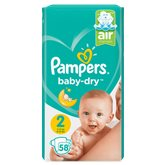 Pampers Couches  - Baby Dry T2 : 3/6kg - x58 changes